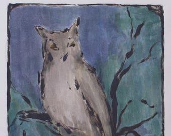 night owl monotype print, owl artwork, woodland creatures, original print by Michelle Farro