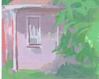 original painting - corner ranch / gouache painting of house