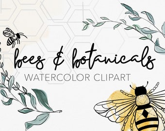 BEES + BOTANICALS   Watercolor Clipart Graphics   commercial use, wreaths, modern greens, SVG file, hive illustration, tattoo ink drawings