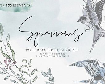 SPARROWS & FLORALS   Watercolor Clipart Graphics   commercial use, wreaths, modern greens, SVG file, bird illustration, tattoo ink drawings