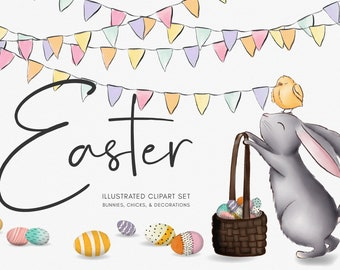 EASTER CLIPART ILLUSTRATIONS   Hand painted bunnies & baby chicks character illustrations with sweet whimsical spring decorations