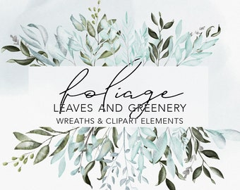 FOLIAGE WATERCOLOR GREENERY   commercial use muted watercolor florals, eucalyptus branch frames, modern botanical greenery leafy borders