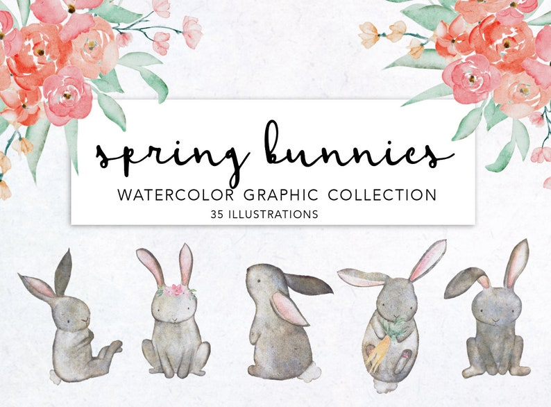 SPRING BUNNIES CLIPART, instant downloadable file, easter, watercolor  floral, rabbit clipart, flowers, wreaths, greenery, bunnies, spring