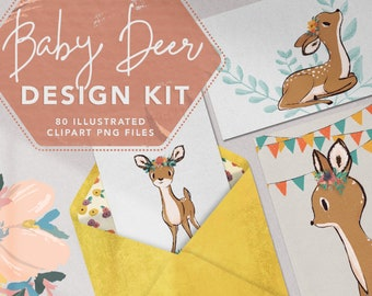 80+ BABY DEER CLIPART   Hand painted fawn character illustrations with sweet spring decorations, florals, and botanical graphic elements