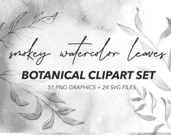 MISTY BOTANICAL CLIPART   black and white muted watercolor graphics and linework art drawings, includes png and svg files for commercial use