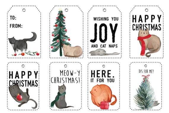 Cat Illustration Parcel Tags Tuxedo Cat Gift Tags Cat Themed Gift Present Tags