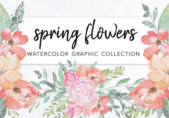 Watercolor Spring Flowers Clipart Download Commercial Use Etsy