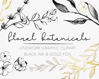 LINEWORK FLORAL BOTANICALS   modern black ink flower illustrations and gold leaf greenery branch frames and wreaths, for commercial use svg