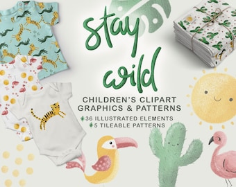 CHILDRENS TROPIC JUNGLE Design Kit clipart, commercial use, summer party decor, tiger flamingo illustrations, kids birthday graphics