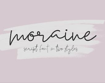 Moraine Modern Script Font Duo, Handwritten, Digital Download, Commercial Use Modern Calligraphy OTF, hand drawn script, templett, corjl use