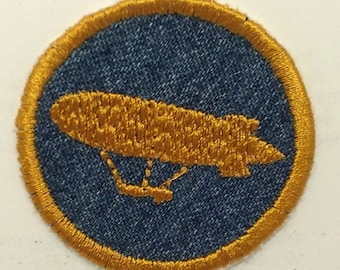 Airship DIrigible Blimp Steampunk Iron On Badge or Patch