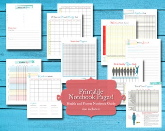 health and fitness planner and journal w exercise and weight loss tracker printable pdf instant download 27 pgs