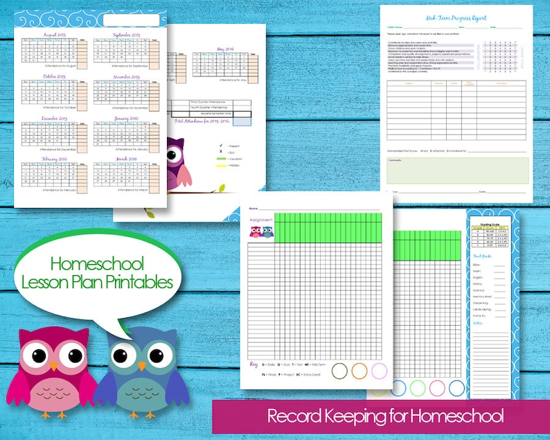 picture about Homeschool Progress Report Printable titled Homeschool Planner Information Attendance, Price range, Gatherings, Quality Ebook, Enhancements Scientific tests, Contacts, Quick Down load Editable PDFs