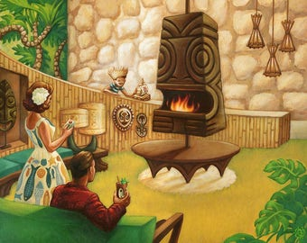 """Idol Hours - 16x20"""" Limited Edition Giclee Canvas Art Print by Atomikitty. Tiki, Mid-Century Inspired Artwork"""