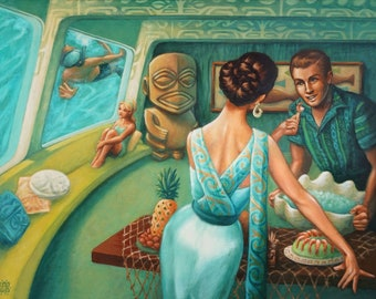 """The Lure - 8x10"""" Limited Edition Giclee Canvas Art Print by Atomikitty. Tiki, Mid Century Inspired Artwork."""