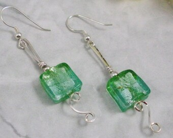 Ice Green Glass with Sterling Silver  Earrings