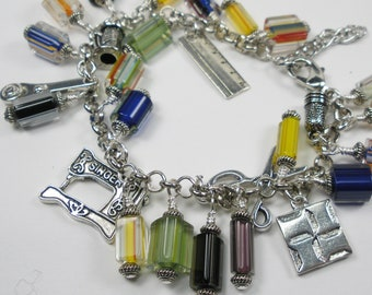 The Quilter's Craft Multi Color Glass Cane Beads and Charm Bracelet, gifts for her, sale