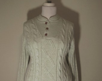 c1091ebd Vintage Cable Knit Fisherman Henley Sweater Women's L XL
