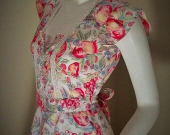Vintage Fruit Novelty Print 40s Style Smocked Rayon Dress S 36