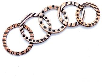 Earring hoops, texture washer, copper washers, copper hoops, Handmade bead, enamel beads,  Rings, copper rings, textured hoops