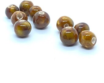 handmade ceramic beads, pottery beads, brown beads, artisan beads plus, ceramic bead, round ceramic bead, art bead, nugget