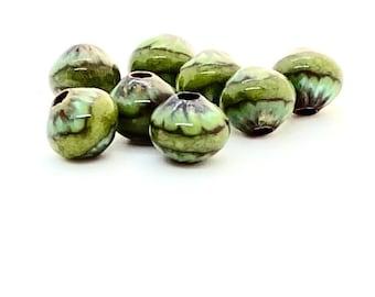 Enameled green beads, Enamel copper beads, Small round, green beads, beads for earrings, Small round enamel beads