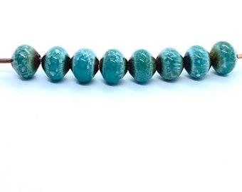 Enameled blue beads, small round turquoise beads, jewelry making beads, enamel, bead, small round beads, turquoise beads, Artisan Beads Plus