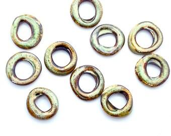 Earring hoops, enamel hoops, Rings, Enameled copper, Enamel rings, Small hoops, Beads for earrings, Earring hoops