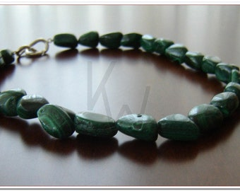 Malachite Necklace  with silver clasp