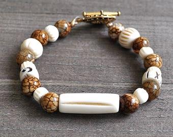 Indian Falls Heshi Bracelet  Dragon Vein Agate Gemstone Beads and Carved Bone Beads Lisa Kraft Original Design