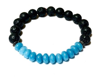 Blue Jade Bracelet Abacus Unisex Man or Woman Black Lava Rock Beaded Jewelry Stackable Handmade Bead Love Protection Energy Stretch Style