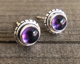 Sterling Silver Amethyst Cabochon Cut Gemstone 1CTW Stud Earrings Post Back Top Quality Gems Handset Artisan Bezel Set Purple Jewelry OOAK