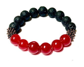 Red Jade Bracelet Unisex Black Lava Rock Bronze Beads Add Your Aromatherapy Oils Stretch Stackable Unisex Mens Jewelry