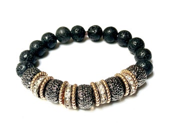 Platinum & Gold Bead with Black Lava Rock Bracelet Unisex Large Bling Stackable Aromatherapy Bead Stretch Style Gift For Her Artisan Jewelry