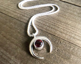 Sterling Silver Crescent Moon & Red Garnet Gemstone Goddess Charm Artisan Jewelry Celestial Necklace Minimalist Galaxy January Birthstone