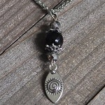 50% OFF Silver Spiral Goddess Talisman Necklace Black Micro Faceted Onyx Gemstone Bead & Platinum Colored Crystal Pagan Pendant