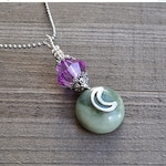 ON SALE Finial Pendant With Lemon Jade & Purple Faceted Crystal Crescent Silver Moon