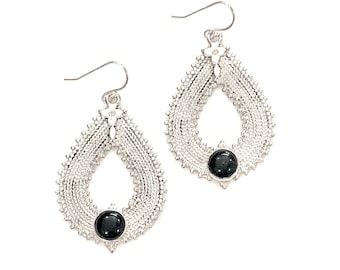 Sterling Silver Black Onyx Gemstone Earrings Boho Tribal Design OOAK Artisan Jewelry Large Pear Shaped Bohemian Style Handmade Teardrop Mod