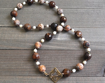 Chocolate Dragon Vein Agate Mocha Madness Beaded Gemstone Necklace Artisan Toggle Clasp