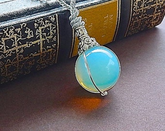 Fortune Teller Opalite Crystal Ball Necklace Pendant With Long Silver Chain