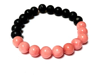 Pink Coral Bracelet Unisex Design Man or Woman Black Lava Rock Beaded Jewelry Stackable Handmade Bead Love Protection Energy Stretch Style