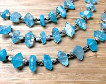 Blue Crystal Point Evil Eye Bracelet Energy Boho Gypsy Raw Natural Quartz Crystal Metaphysical Healing Meditation Yoga Spiritual Jewelry