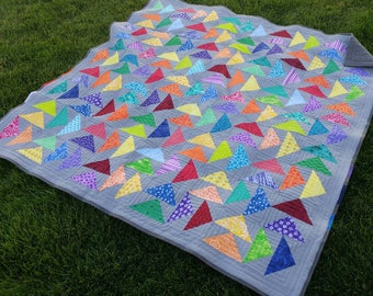 Fabulous Flying Geese Rainbow Lap Quilt/Blanket