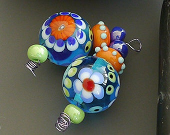 Handmade lampwork beads | earring pair  | BY The SEA  |  round beads  |  SRA  |  artisan glass |  Silke Buechler