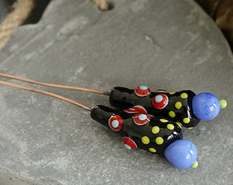 Handmade headpins |  lampwork beads | black blue  | copper SRA  |  artisan glass |  Silke Buechler