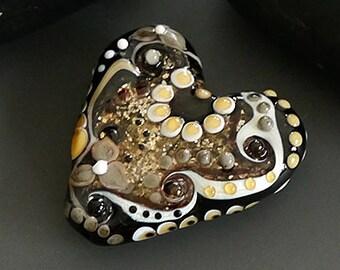 Handmade lampwork bead focal      Heart  glitter black    SRA     artisan glass    Silke Buechler