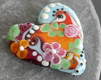 Handmade lampwork bead focal      Heart  orange pink light blue     SRA     artisan glass    Silke Buechler