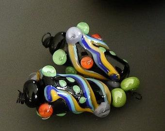 Handmade lampwork beads   earring pair   cones   black   SRA   artisan glass   Silke Buechler