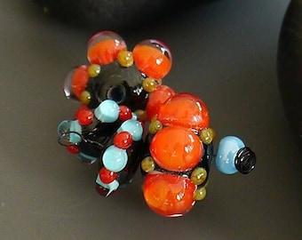 Handmade lampwork beads   earring pair   pink   SRA   artisan glass   Silke Buechler