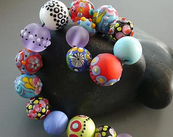 Handmade lampwork beads  l  round l  Orphans Destash Leftovers  l SRA l  glass set l made by Silke Buechler